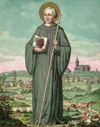 detail of an antique French holy card of Saint Morand of Cluny; swiped from Santi e Beati