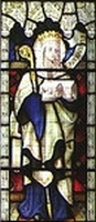 detail of a stained glass window showing Saint Morwenna; Church of Saint Morwenna and Saint John the Baptist in Saint Morwenna, Morwenstow, Cornwall, England, date and artist unknown; photographed on 6 June 2004 by Christina Burford; swiped from Wikimedia Commons