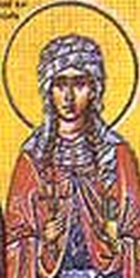 detail from an antique icon of Saint Natalie of Nicomedia