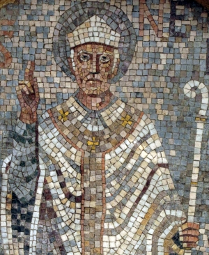 detail of an mosaic of Saint Nebridi of Ègara; date and artist unknown; Rectory of the church of Sant Pere, Terrassa, Catalonia, Spain; photographed on 13 August 2010 by Enfo; swiped from Wikimedia Commons; click for source image