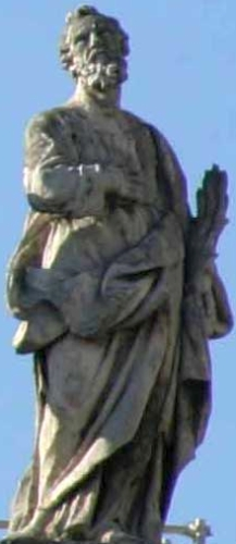 statue of Saint Nereus of Terracina by Lorenzo Ottoni, c.1703; colonnade of Saint Peter's Basilica, Rome, Italy