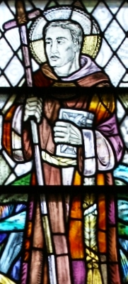 detail of a stained glass window of Saint Ninian, Saint Ninian's Parish Church, Whithorn Priory, date and artist unknown