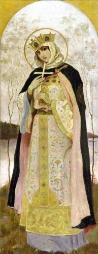 detail of a painting of Saint Olga by Mikhail Vasilyevich Nesterov, 1892