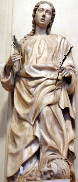 statue of Saint Olivia of Palermo; date and artist unknown; Cathedral of Palermo, Italy; photographed on 27 January 2015 by José Luiz Bernardes Ribeiro; swiped from Wikimedia Commons; click for source image