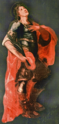 painting of Saint Papias the Martyr from an altarpiece by Onofrio Gabrieli, Church of Sant Papias the Martyrs, Milazzo, Italy; swiped from Wikipedia