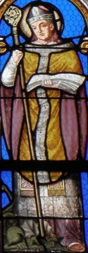 detail of a stained glass window of Saint Paul Aurelian, date and artist unknown; church of Saint-Hervé, Lanhouarneau, France; photographed on 15 October 2011 by GO69; swiped from Wikimedia Commons