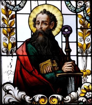 detail of a stained glass window of Saint Paul the Apostle; 19th century by F X Zettler, Munich, Germany; parish church of Saint Alban, Gutenzell-Hürbel, Biberach, Germany; photographed in January 2015 by Andreas Praefcke; swiped from Wikimedia Commons; click for source image