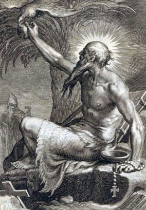 detail from an illustration of Saint Paul the Hermit; design by Abraham Bloemaert, engraving by Boetius à Bolswert, 1619; from the book 'Sylva anachoretica Aegypti et Palaestinae', University Library, Nijmegen, Netherlands; swiped from Wikimedia Commons; click for image source