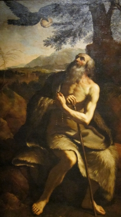 detail of the painting 'Saint Paul the Hermit Fed by the Raven'; after Il Guercino; Dayton Art Institute; swiped from Wikimedia Commons; click for source image
