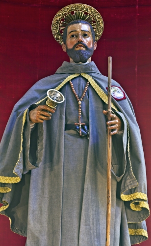 detail of a statue of Saint Pedro in the Cathedral of La Laguna, Spain, date and artist unknown; photographed on 28 April 2014 by Koppchen; swiped from Wikimedia Commons