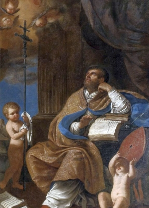 detail of a painting of Saint Peter Chrysologus; School of Guercino, 17th century; Diocesan Museum of Pius