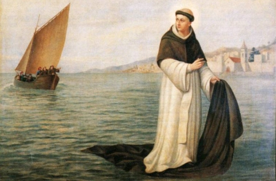 detail of the painting 'Miracle of the Holy Body' by Luís António Bernes, 1908, showing Saint Peter Gonzales sailing on his cloak; Chapel of Our Lady of Conception and Holy Body, Câmara de Lobos, Madeira, Spain; photograph in 1992 by Rui Camacho; swiped from Wikimedia Commons