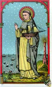 antique holy card of Saint Peter Gonzales, artist unknown