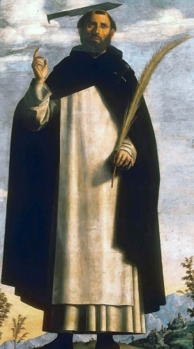 detail from the painting 'Saint Peter Martyr with Saint Nicholas of Bari, Saint Benedict and an Angel Musician' by Cima da Conegliano, 1504; Pinacoteca di Brera, Milan, Italy; swiped from Wikimedia Commons