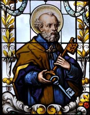 detail of a stained glass window of Saint Peter the Apostle; 19th century by F X Zettler, Munich, Germany; parish church of Saint Alban, Gutenzell-Hürbel, Biberach, Germany; photographed in January 2015 by Andreas Praefcke; swiped from Wikimedia Commons; click for source image