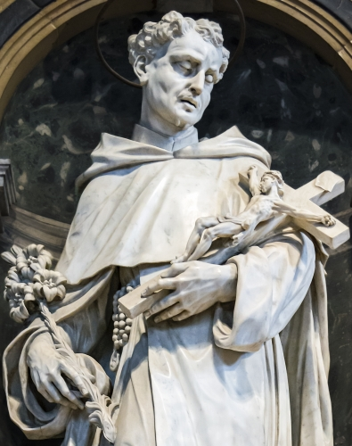 detail of a statue of Philip Benizi de Damiani, by Rinaldino di Francia, date unknown; Church of Santa Maria dei Servi, Padua, Italy; photographed on 1 June 2016 by Didier Descouens; swiped from Wikimedia Commons
