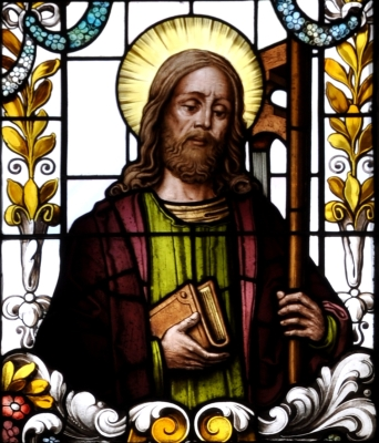 detail of a stained glass window of Saint Philip the Apostle; 19th century by F X Zettler, Munich, Germany; parish church of Saint Alban, Gutenzell-Hürbel, Biberach, Germany; photographed in January 2015 by Andreas Praefcke; swiped from Wikimedia Commons; click for source image