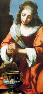 detail of Saint Praxides from 'Saint Praxidis' by Jan Vermeer van Delft, 1655 (?), oil on canvas