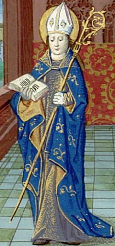 illustration of Saint Privatus of Mende from the Croy book of Hours, 15th century by Simon Liboron; Bibliothèque de l'Assemblée Nationale, Paris; swiped from Christian Iconography; click for source image