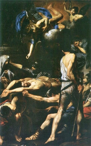 a painting of the martyrdom of Saint Processus and Saint Ma