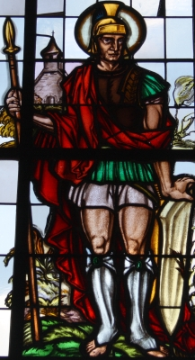 detail of a stained glass window, Catholic parish church of Saint Remaclus, Uersfeld, Germany; date unknown, artist unknown; photographed on 12 May 2011 by Reinhardhauke; swiped from Wikimedia Commons