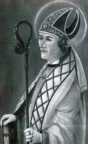 detail of a German holy card of Saint Ralph of Bourges, date and artist unknown; swiped from Santi e Beati