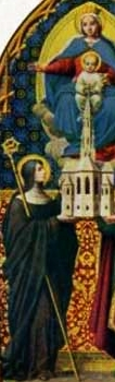 detail of a holy card of Saint Regintrudis of Nonnberg; date and artist unknown; swiped from Santi e Beati