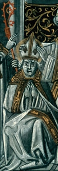 detail of an illustration depicting the consecration as bishop of Saint Rigobert of Rheims; Flemish miniature in a French language version of the Golden Legend, c.1470, artist unknown