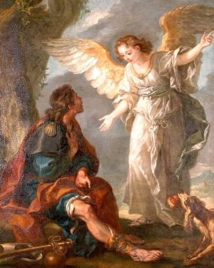 detail of the painting 'Saint Roch and the Angel'; 19th century by Charles Amédée Philippe van Loo; Museum of Art and Archaeology, Senlis, France; swiped fr