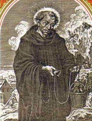 detail of an Italiano holy card of Saint Romanus of Subiaco, date and artist unknown; swiped from Santi e Beati