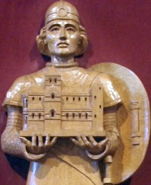 detail of a statue of Saint Ronald of Orkney, Saint Magnus Cathedral, Kirkwall, Orkneys, Scotland; taken on 23 May 2011 by Otter; swiped off the Wikimedia Commons