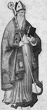 detail of an illustration of Saint Rufillus of Forlimpopoli, date and artist unknown; swiped from Santi e Beati; click for source image