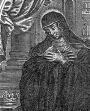 detail of an Italian holy card of Saint Salome of Niederaltaich, date and artist unknown; swiped from Santi e Beati; click for source image