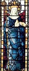 detail of a stained glass window of Saint Saxburgh of Ely, date and artist unknown; swiped from Santi e Beati; click for source image