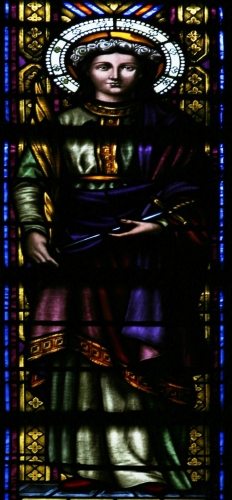 detail of a stained glass window of Saint Semproniana of Mataró; date and artist unknown; interior of the Basílica of Santa Maria del Mar, Barcelona, Spain; photographed on 10 February 2014 by José Luiz Bernardes Ribeiro; swiped from Wikimedia Commons
