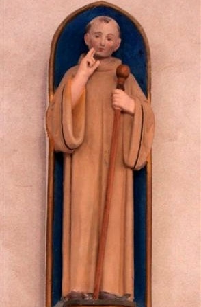 statue of Saint Senoch; date and artist unknown; Notre-Dame Church of the Assumption, Tiffauges, Diocese of Luzon, France