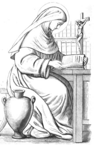drawing of Saint Senorina of Basto from Charles Cahier's 'Caractéristiques des saints dans l'art populaire', 1867