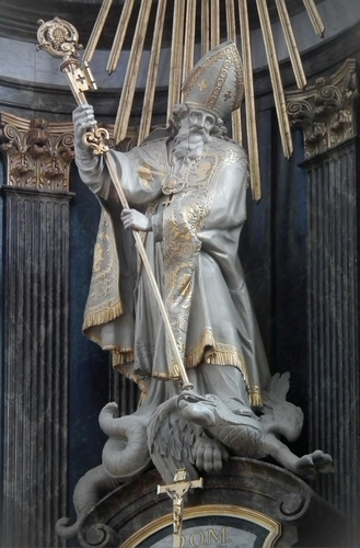 statue of Saint Servatus with his key, defeating a dragon representing heresy; date and artist unknown; Basilica of Saint Servatius, Grimbergen, Belgium; photographed on 12 March 2012 by Mattana; swiped from Wikimedia Commons