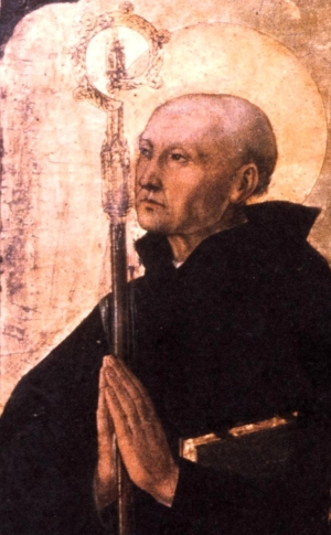 painting of Saint Severin of Noricum; detail from the altar in the church of San Severin in Naples, Italy; c.1470 by the Master of San Severino; swiped from Wikimedia Commons