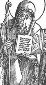 detail of Saint Severinus, from 'The Austrian Saints' by Albrecht Durer, 1515-17, woodcut, British Museum, London