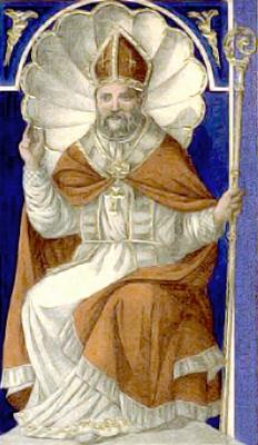 19th century holy card of Saint Severus of Naples