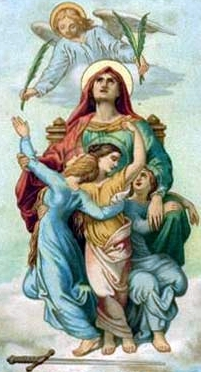 detail from an antique holy card of Saint Sophia with her daughters Saint Faith,