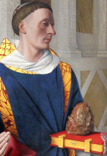 detail of the oil on oak painting 'Etienne Chevalier with Saint Stephen'; by Jean Fouquet, c.1454; Royal Museum of Fine Arts. Antwerp, Belgium; photographed on 18 April 2014 by Miguel Hermoso Cuesta; swiped from Wikimedia Commons; click for source image