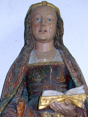 detail of a statue of Saint Susanna of Rome, Church of Saint-Suzanne, Mayenne, France; sculptor unknown, date unknown