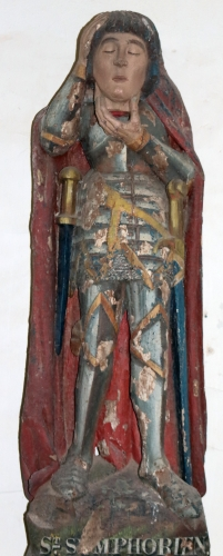 statue of Saint Symphorien, 15th century, artist unknown; Chapel of Our Lady of Locmaria-an-Hent, Saint-Yvi, Finistere, Brittany, France; photographed on 15 September 2018 by Yann Gwilhoù; swiped from Wikimedia Commons