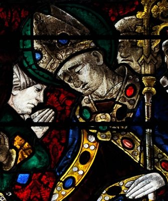 detail of a stained glass window of Saint Taurinus, Evreux, France, artist unknown, c.1450