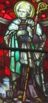 detail of a stained glass window of Saint Teilo of Llandaff, date and artist unknown; photographed on 24 May 2011 by Gwenddwr; swiped from Wikimedia Commons; click for source image