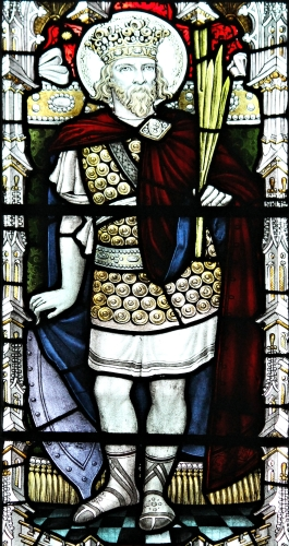 detail of a stained glass window of Saint Tewdrig, date and artist unknown; Llandaf Cathedral, Cardiff, South Wales; photographed on 24 April 2016 by Llywelyn2000; swiped from Wikimedia Commons