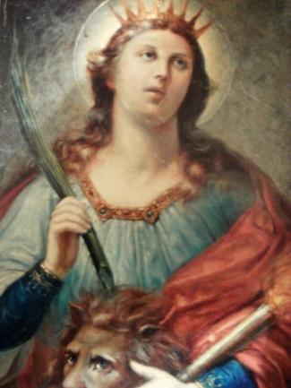 detail of a painting of Saint Thecla by Antoni Szulczynskiego, date unknown; Church of Saint Tekla, Wilczyn, Poland; photographed by Antoni Szulczynski on 13 September 2011; swiped from Wikimedia Commons