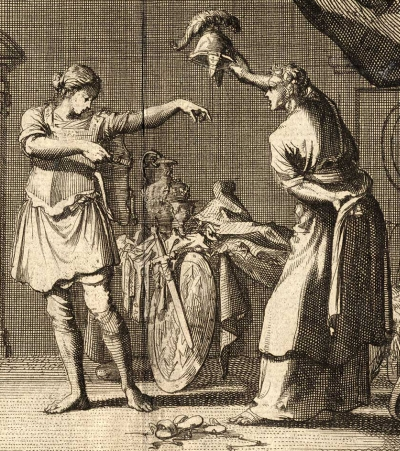 detail of a print of Saint Theodora and Saint Didymus exchanging clothes in the brothel; 1712 by Jan Luken; swiped from Wikimedia Commons; click for source image